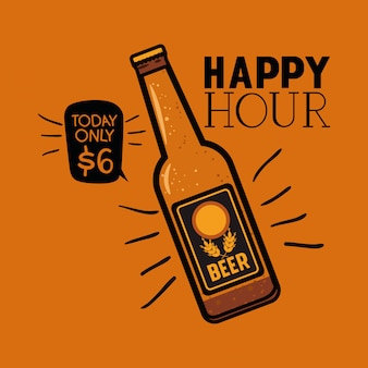 Hora feliz etiqueta de cervezas con botella