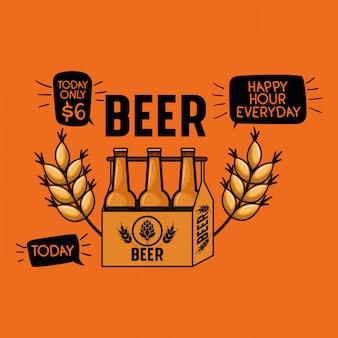 Hora feliz etiqueta de cervezas con botellas en cesta
