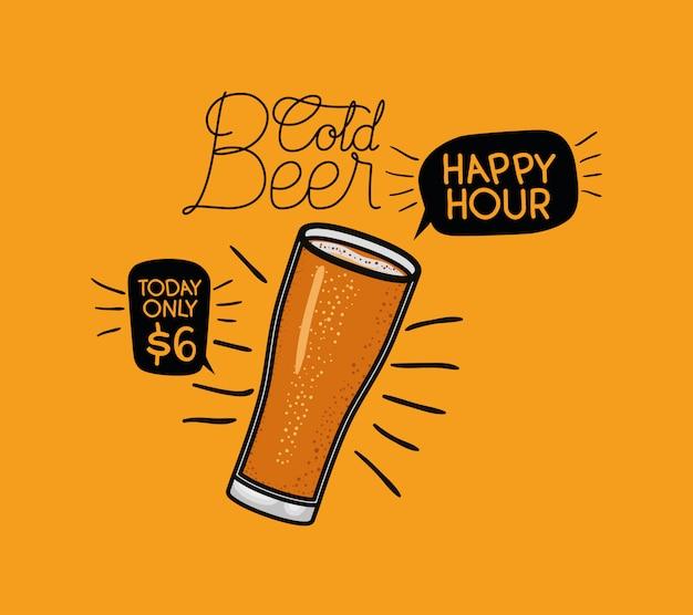 Hora feliz etiqueta de cervezas con vidrio