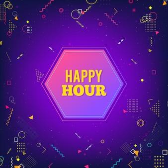 Hora feliz, púrpura, moderno, fondo
