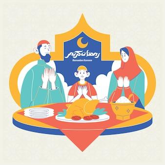 Hora de iftar familiar en la noche de ramadán