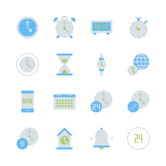 Hora y reloj en diseño plano conjunto de iconos