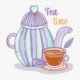 Hora del té bosquejo plano