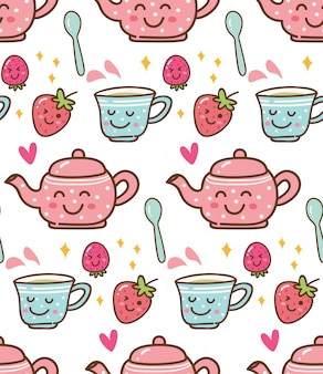 Hora del té con fresa en el fondo de estilo kawaii