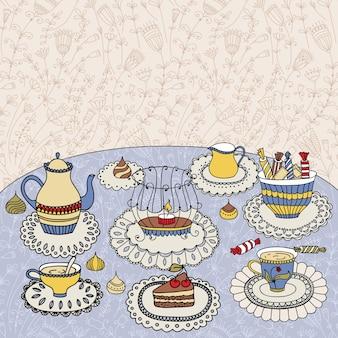 La hora del té. ilustración con tazas, tetera, dulces y velas.