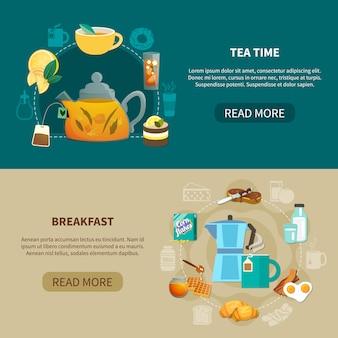 Hora del té y pancartas de desayuno