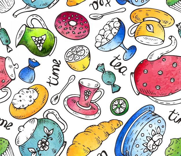 La hora del té de patrones sin fisuras con elementos de doodle y textura de acuarela