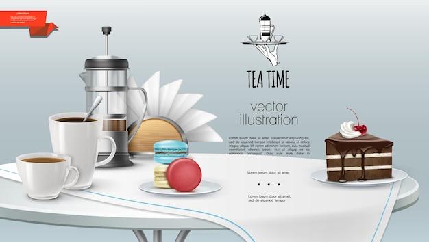 La hora del té realista con tazas de café y té, prensa francesa, pieza de pastel, macarrones, servilletas, mantel en la mesa
