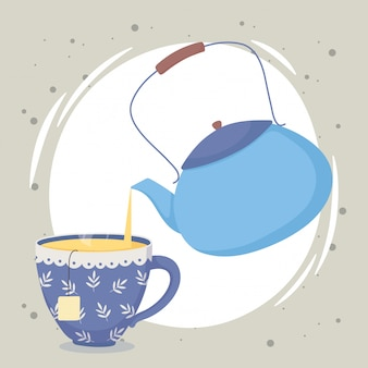 Hora del té, tetera vertiendo té en taza de bebida