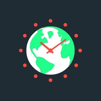 Hora de la tierra con planeta verde. concepto de calentamiento global, ahorro de electricidad, iluminación, conservación de energía wwf. aislado sobre fondo azul oscuro. ilustración de vector de diseño moderno de moda de estilo plano