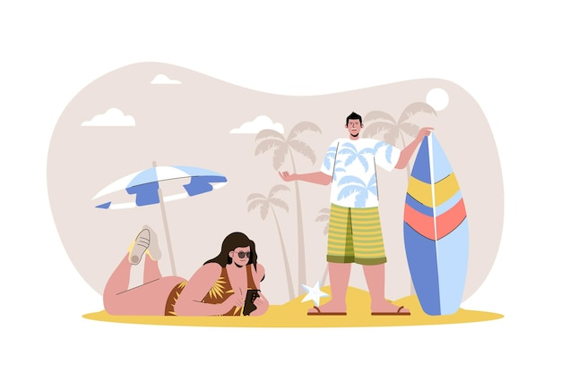 Hora de verano concepto web mujer en traje de baño tomando el sol en la playa el hombre va a surfear