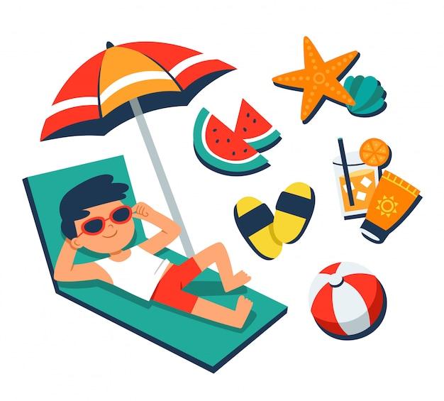 Hora de verano. un niño tomando el sol en una silla de playa con elementos de playa tropical. vector de verano.
