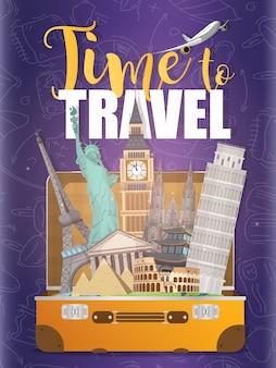 Hora de viajar banner. cartel morado para publicidad de entradas con descuento. cartel de viaje. viaje al mundo. vacaciones de viaje en automóvil. vistas arquitectónicas del mundo.