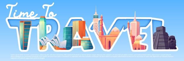 Hora de viajar banner de dibujos animados