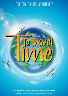 Hora de viajar pancarta con globo verde y aviones volando alrededor de orientación vertical