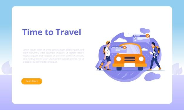 Hora de viajar para una plantilla de página de destino de viajes de negocios