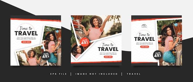 Hora de viajar plantilla de publicación en redes sociales