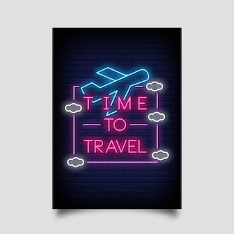 Hora de viajar para póster en estilo neón.