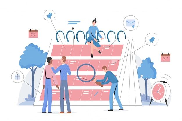 Horario, calendario, diario, planificador diario concepto de personaje de ilustración plana. los hombres y las mujeres planifican sus negocios, eventos, trabajos y reuniones en un horario amplio. semana, mes, año de gestión del tiempo.
