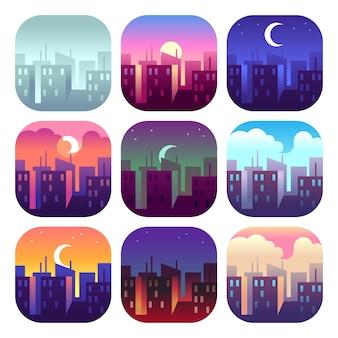 Horario de la ciudad. temprano en la mañana salida del sol puesta del sol, mediodía y anochecer noche, noche paisaje urbano rascacielos edificios. conjunto urbano