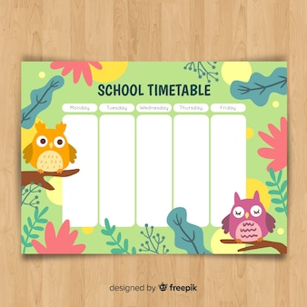 Horario de colegio con animales dibujado a mano