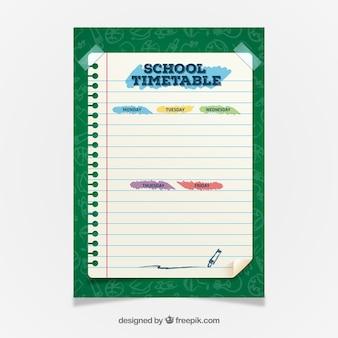 Horario escolar adorable con diseño plano