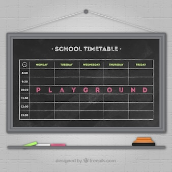 Horario escolar bonito en pizarra
