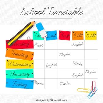Horario escolar de colores con lápiz y otros elementos