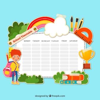 Horario escolar con concepto de naturaleza