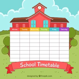 Horario escolar con edificio