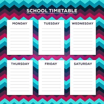 Horario escolar con el patrón de zig zag en el fondo