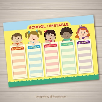 Horario escolar con niños