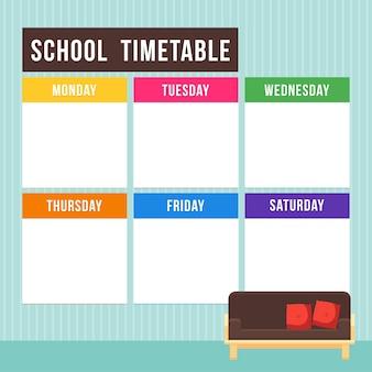 Horario escolar de vectores