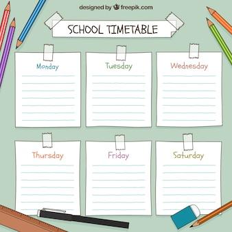 Horario escolar dibujado a mano