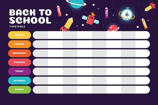 Horario escolar de diseño plano con ciencia