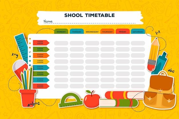 Horario escolar de diseño plano con libros