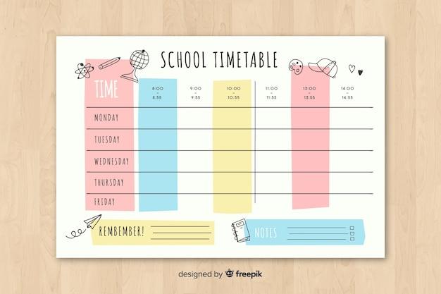 Horario escolar en estilo plano
