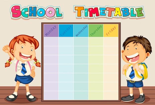 Horario escolar con estudiante