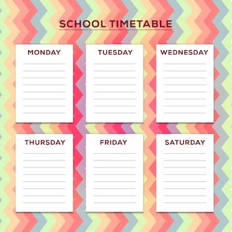 Horario escolar con fondo en colores pastel del zigzag