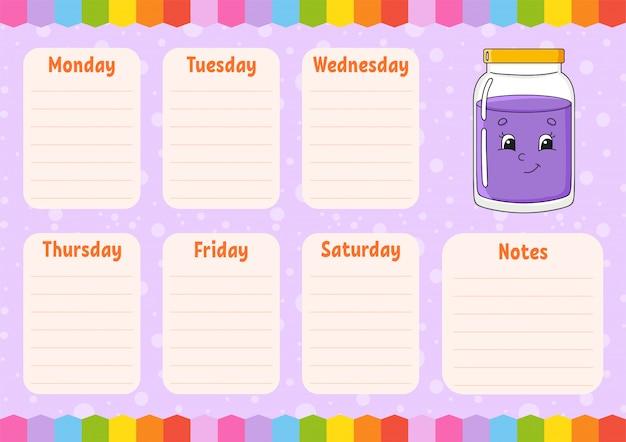 Horario escolar. horario para escolares. plantilla vacía cepilladora semanal con notas.