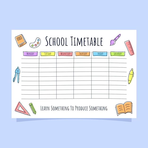 Horario escolar con icono de línea de color