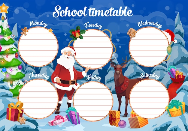 Horario escolar de navidad con santa, renos y regalos. planificador de la semana de los niños o calendario, gráfico de celebración navideña con árbol de navidad decorado, santa claus y regalos esparcidos en el bosque