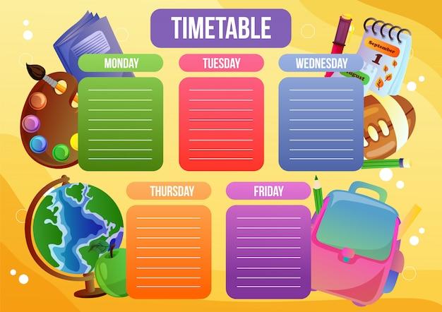 Horario escolar con objeto escolar