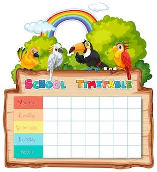 Horario escolar con personajes