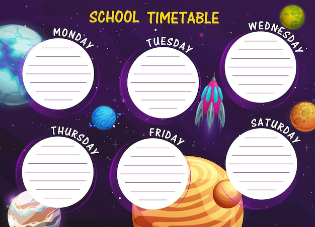 Horario escolar con planetas espaciales de dibujos animados
