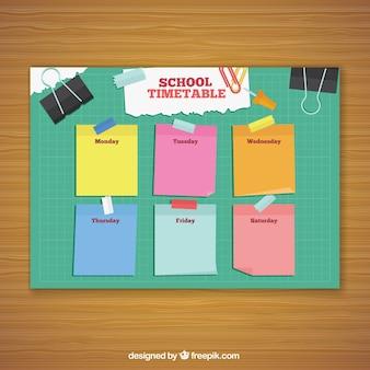 Horario escolar con post its de colores