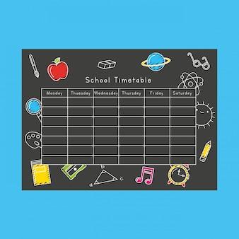 Horario escolar sobre la pizarra con dibujos animados de childrawning de los iconos de la escuela. de vuelta a la escuela. ilustración