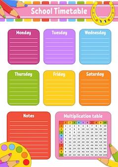 Horario escolar con tabla de multiplicar. para la educación de los niños.
