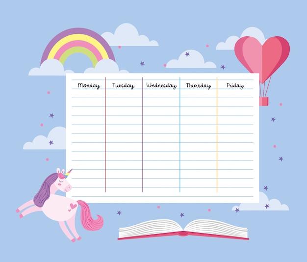 Horario escolar con unicornio y arcoiris