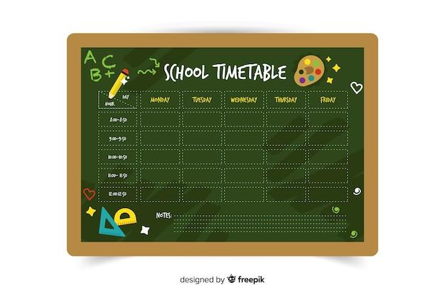 Horario escolar verde de diseño plano